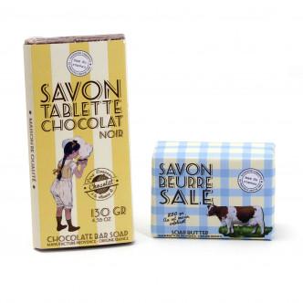 Savon tablette de chocolat et savon beurre salé exfoliant fabriqués en Provence