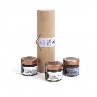 Coffret cadeau de 3 pots de confitures Bruneton meilleur confiturier de France