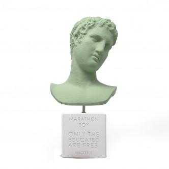 Buste éphèbe de Marathon en céramine verte sur socle blanc