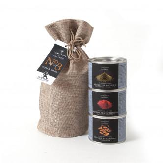 Curcuma, Poivrier, Paprika en sac de jute pour cadeau épicé, sélection Comptoir des Poivres