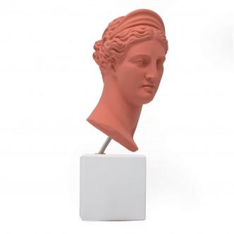 Artémis, reproduction buste statue grecque rouge corail