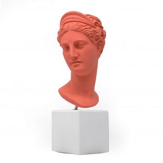 Petit buste d'Artémis rouge corail déco arty