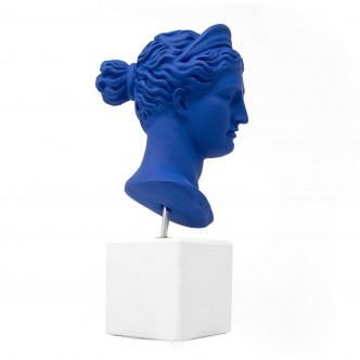 Buste 24 cm  en céramine bleue, déco arty
