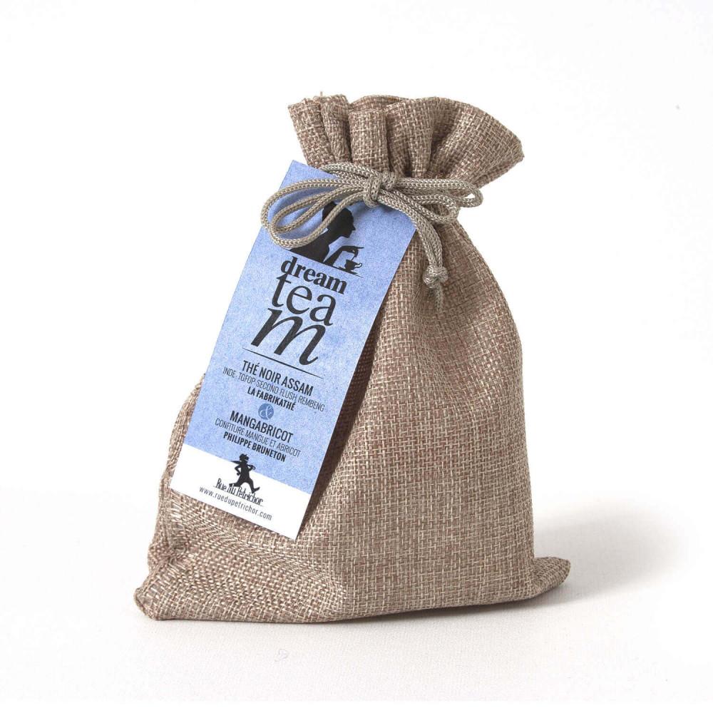 Petit  sac cadeau en jute naturelle thé noir Assam La FabriKathé et confiture mangue-abricot Bruneton