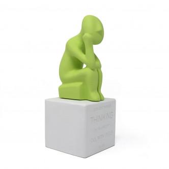 Reproduction du Penseur des Cyclades, statuette vert lime par Sophia