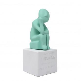 Penseur des Cyclades, statuettes en céramine couleur vert menthe par Sophia, Grèce