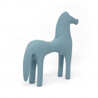 Cheval d'Olympie, statuette  bleu vintage en résine et céramique