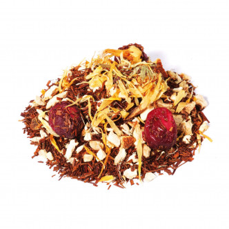 Rooibos, écorce d'orange, gingembre, cranberrie en infusion