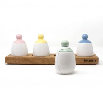 Série de 4 coquetiers design, couvercles 4 couleurs rose, jaune, vert et bleu