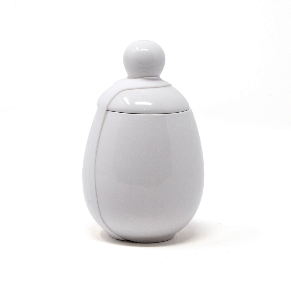 Coquetier en porcelaine blanche pour cuisson 3 œufs, bandeau en silicone