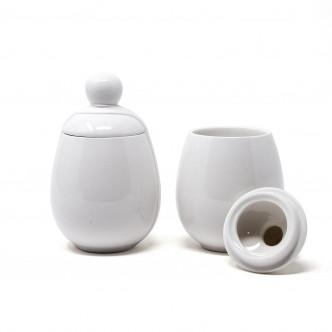 Set de 2 coquetiers XXL en porcelaine blanche Aggcoddler