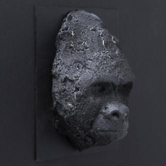 Art brut, petite tête de gorille en céramique, pièce unique