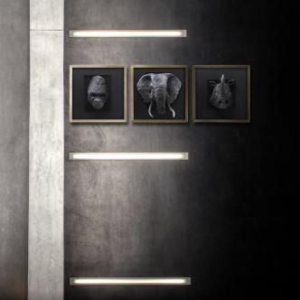 Déco expo art brut, 3 trophées en céramique noire mate