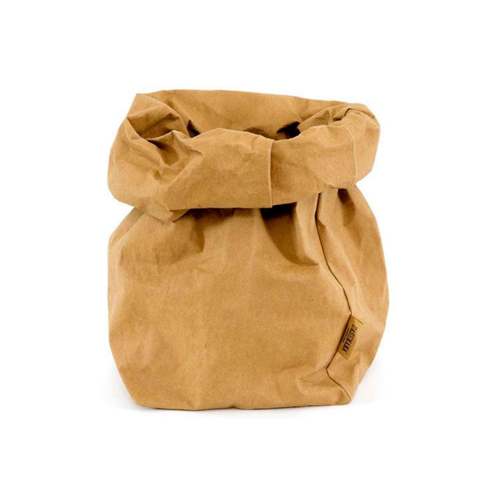 Grand sac XL en papier lavable couleur camel par Uashmama, marque italienne
