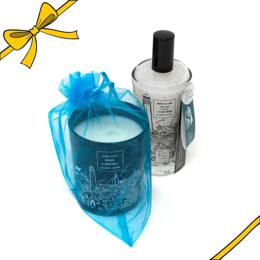 Coffret cadeau bougie parfumée et brume de linge Esprit Celte