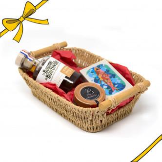 Coffret cadeau : 1 balsamique Baume de Bouteville, 1 confit d'oignon Bruneton, 1boîte de sardines José Gourmet