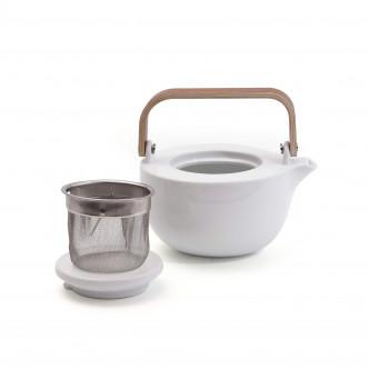 Théière design en porcelaine avec filtre passe-thé en inox intégré. Lignes épurées.