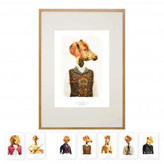 Affiche dans cadre 50 x 70 cm et le jeu de cartes postales offert.