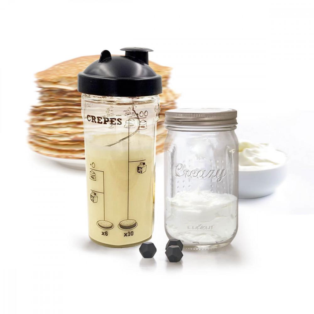 Shaker Miam pour crêpes et pancakes et shaker Creazy pour la Chantilly