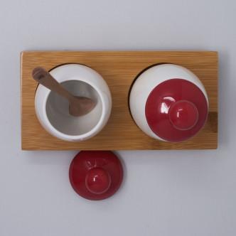 Set de 2 coquetiers Hanna XXL porcelaine brillante blanche et rouge