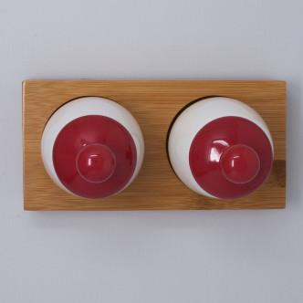 Aggcoddler, set de 2 coquetiers rouge grand format pour cuisson 3 œufs