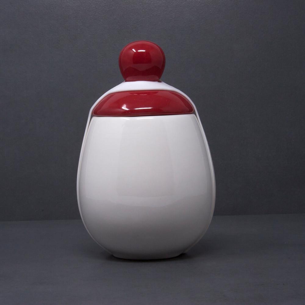 Coquetier XXL en porcelaine blanche et chapeau rouge brillant, bandeau en silicone