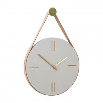 Horloge à suspendre en béton, cuir et laiton. Design Hübsch.