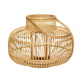 Très belle lanterne en bambou naturel avec poignée