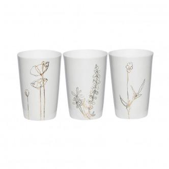 Set de 3 photophores lumignons en poreclaine blanche motif floral doré