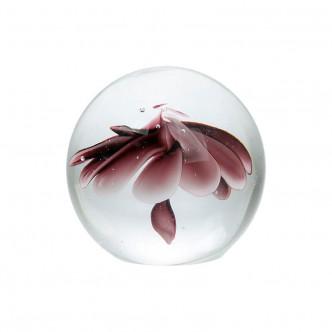Presse Papier boule avec fleur rose et violette en inclusion