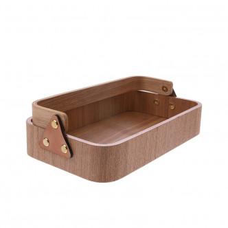 Boîte en bois naturel et cuir avec poignée rbattable