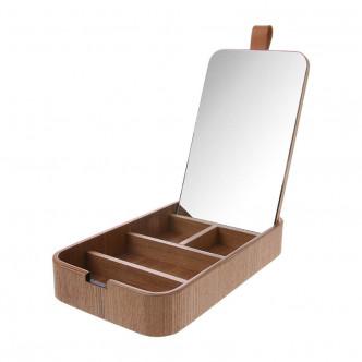 Boîte de rangement compartimentée avec miroir intégré