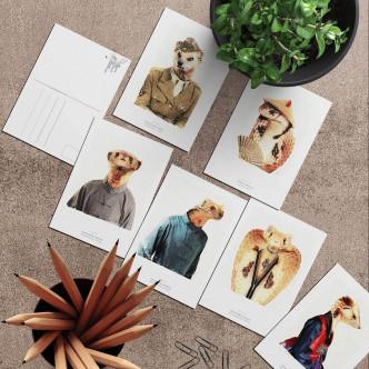 Lignée mangouste et cobra en cartes postales