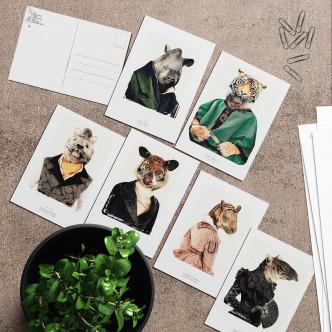 Lignée tapir et tigre en cartes postales