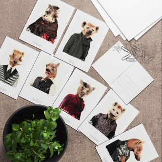 Lignée hyène et phacochère en cartes postales