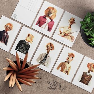 Lignée lion et girafe en cartes postales