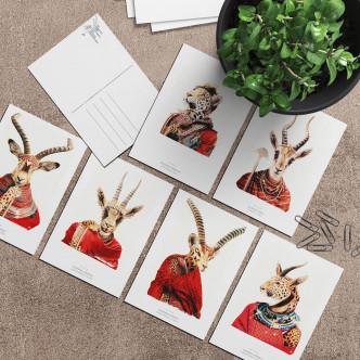 Lignée gazelle et léopard en cartes postales