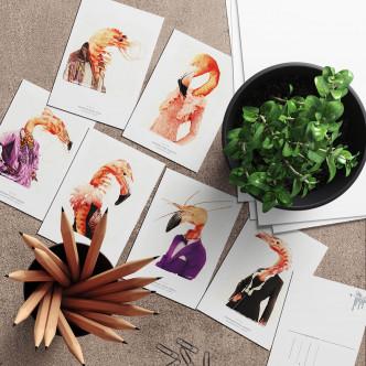 Lignée crevette et flamant rose en cartes postales