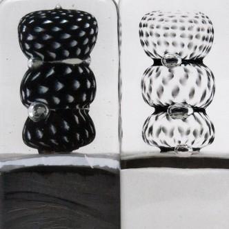 Totems de verre par Lise Gonthier. Pièces uniques. Techniques de soufflage et fusing.