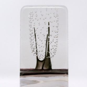 Totem en verre soufflé bouche par Lise Gonthier. Pièce unique. Détail.