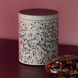 Pot cylindrique en Terrazzo avec couvercle