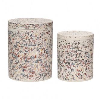 Pots cylindriques en Terrazzo avec couvercle