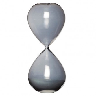 Sablier en verre fumé gris bleuté durée de 1 heure
