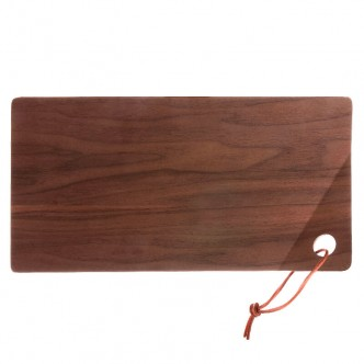 Plateau de service en bois de saule teinté noyer