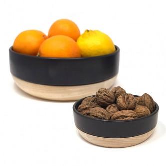 Plats creux en céramique noir, blanc et support en bois d'hévéa