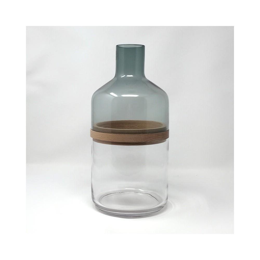 Grand vase bouteille en verre et bois, 3 en 1