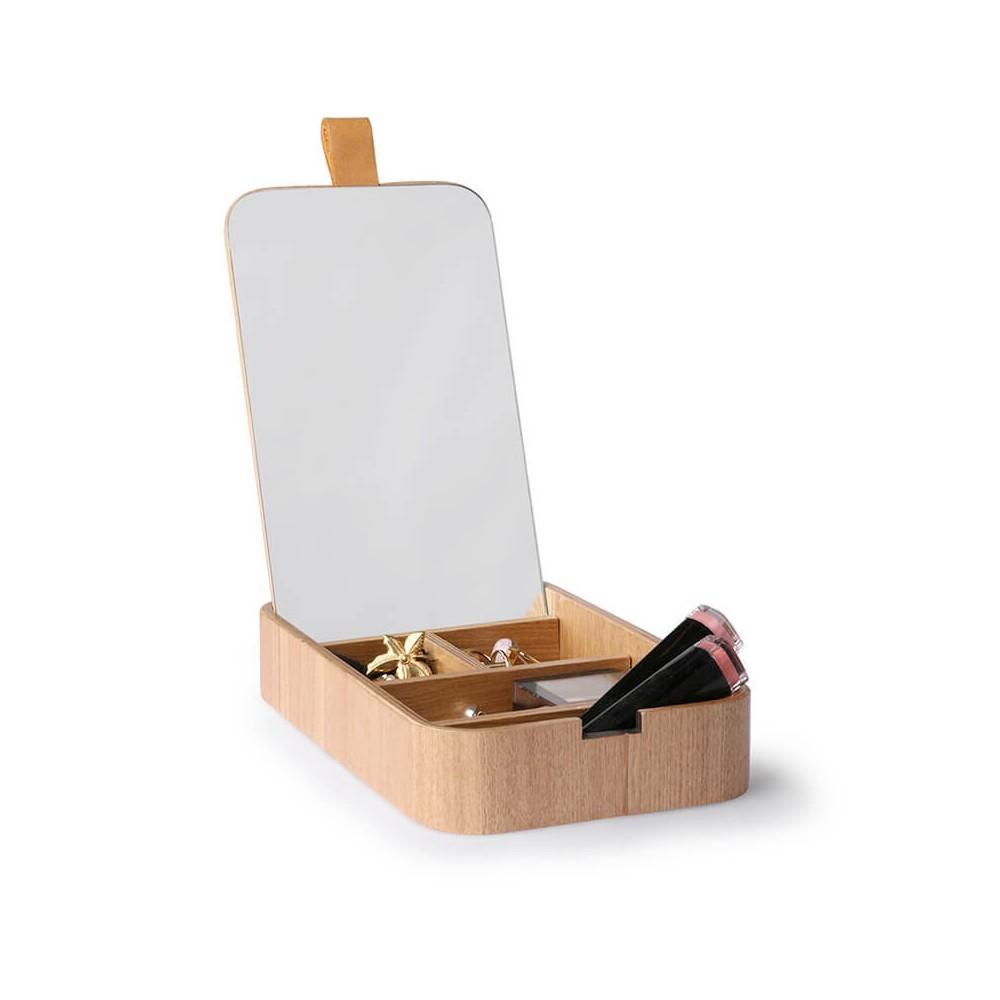 Boîte de rangement compartimentée avec miroir intégré HK Living