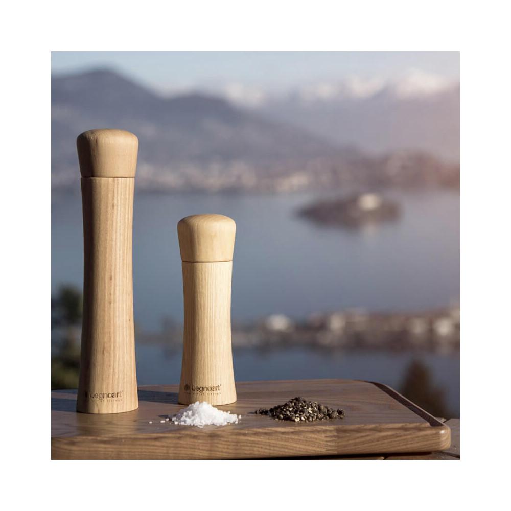 Moulin mixte sel et poivre, mécanisme céramique et corps en bois tourné en Italie