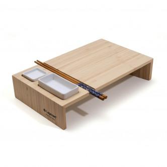Plateau pour dégustation de sushi en bambou massif.