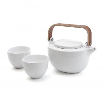 Ensemble théière et tasses ovales en porcelaine blanche.